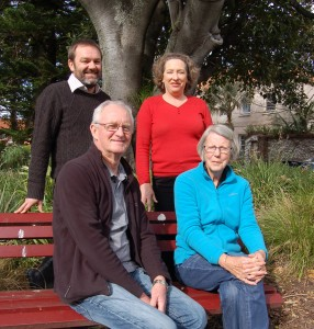 Kiama's dementia-friendly communities pilot project will involve many individuals and organisations, including local resident Helen Webb (front right) who is living with dementia, her husband and carer Jim Webb (front left), Kiama Council's Community and Cultural Development Manager Nick Guggisberg and council's Community and Cultural Development Director Clare Rogers. Photo: Kiama Municipal Council