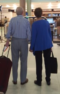 Older couple at airport